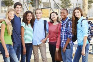 Group Of Teenage Pupils Outside Classroom
